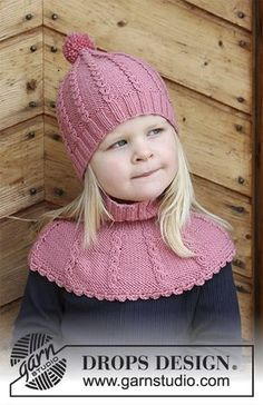 Lille Lisa - The set consists of: Children's knitted hat and neck warmer with small cables. Sizes 3 - 12 years. The set is worked in DROPS Merino Extra Fine. Free knitted pattern DROPS Children 30-15