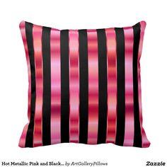 Hot #Metallic #Pink and #Black #Stripes #Pillows $30.95