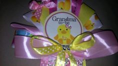 1 Mommy 2 Grandma and Daddy Baby shower corsage Pink It's A Girl Duck set by TheFlowerExperts on Etsy