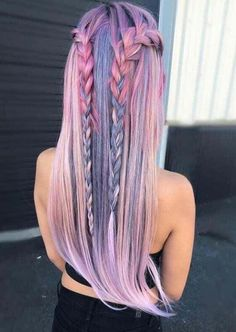 Trendy Hair Color Crazy Pastel Braids 23 Ideas - Most stylish hairstyles Cute Hair Colors, Hair Dye Colors, Cool Hair Color, Amazing Hair Color, Gorgeous Hair, Loose Hairstyles, Pretty Hairstyles, Braided Hairstyles, Fashion Hairstyles
