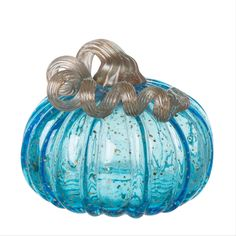 Settle into the season with your own custom pumpkin, begin to awaken your interior spaces, and delight in the beginning of seasonal decoration and admiration. • Material: Glass • Color: Blue • Weight: 1.1 lbs Small Pumpkins, Glass Pumpkins, Crackle Glass, Blue Glitter, Fall Harvest, Autumn Inspiration, Thanksgiving Decorations, Hand Blown Glass, Hobbies