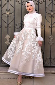 some girls prefer the puffy soiree style, other girls prefer the pencil or the wrapped dresses. Hijab Prom Dress, Muslimah Wedding Dress, Hijab Evening Dress, Hijab Style Dress, Hijab Wedding Dresses, Dressy Dresses, Evening Dresses, Modest Dresses, Dress Up