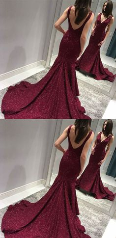 unique burdungy plunging prom dresses, chic backless mermaid evening gowns, elegant v neck sequined party dresses