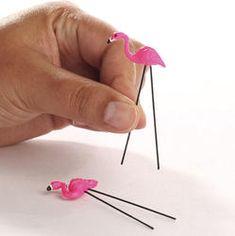 Mini lawn flamingos!