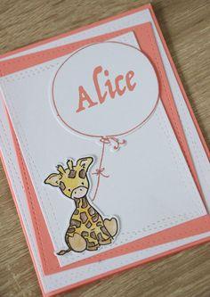 Faire part naissance, carte félicitations, baptême, bienvenue bébé personnalisable Girafe - Litchi/pêche : Faire-part par la-petite-carterie-foxy