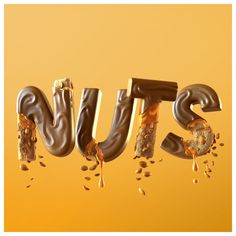 Go Nuts BarOne - Disko CGI Illustration portfolio site Food Typography, Typography Design, Word Design, Text Design, Chocolate Texture, Peanut Bar, Samurai Wallpaper, Squirrel Art, 3d Type