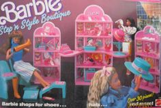 Barbie STEP 'N STYLE BOUTIQUE 30+ Piece Playset BARBIE Shops For Shoes...Hats... & MORE! (1988 Mattel Hawthorne) by Mattel Hawthorne, made in Hong Kong or Malaysia or China, as marked. $289.99
