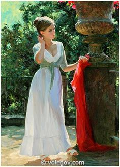GIRL RED SCARF, painting, pictures on Volegov.com
