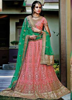 Indian long lehenga choli buy online. Order this distinctive rose pink and sea green net a line lehenga choli.