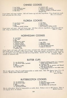Vintage Cookies Recipes From Chinese Cookies, Florida Cookies, Norwegian Cookies, Butter Cups, Butterscotch Cookies Retro Recipes, Old Recipes, Cookbook Recipes, Baking Recipes, Sweet Recipes, Recipies, Delicious Recipes, Family Recipes, Blender Recipes