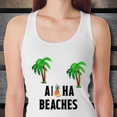 Custom tank top aloha beaches aloha invitation hawaiian party hawaii shirt beach dress summer ocean tropical pineapple gift for women by Bulwar on Etsy