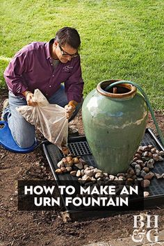 - Learn How to Make This Amazing Garden Fountain A bubbling fountain is just what your backyard has been missing. See how you can install this DIY urn fountain in just a weekend! Diy Water Feature, Backyard Water Feature, Ponds Backyard, Backyard Landscaping, Backyard Waterfalls, Garden Ponds, Koi Ponds, Landscaping Ideas, Backyard Play