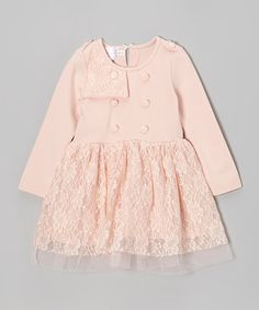 Take a look at this Pink Lace Button Dress - Toddler & Girls by Blossom Couture on #zulily today!