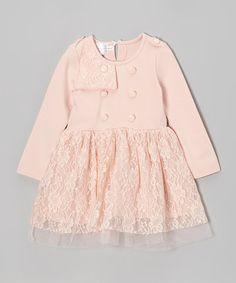 Look what I found on #zulily! Pink Lace Button Dress - Toddler & Girls #zulilyfinds