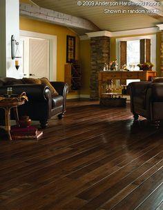 Hardwood floor, bead board ceiling