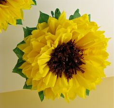 HAPPY SUNFLOWERS. 5 Giant Paper Flowers yellow wedding