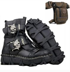 Nothing comes close to the durable comfort that this leather biker boot provides while maintaining its sturdiness for taking on the harshest conditions the roads have to offer. You will love the overall coziness that comes from the inner soft linings, and appreciate quality construction on the outside. The heavy-duty upper leather construction, oil-resistant outer rubber sole, and silver hardware will keep your feet protected no matter what. Leather Motorcycle Boots, Biker Boots, Leather Boots, Combat Boots, American Legend, Rugged Look, Stylish Boots, Black And Brown, Hiking Boots