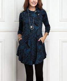 Another great find on #zulily! Black & Blue Abstract Shawl Collar Button Tunic Dress - Plus Too #zulilyfinds