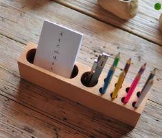 Wooden Desktop Stationery Organizer Storage Cell Phone Holder