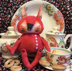 """Дикий Лис - """"Хитруша"""" - ярко-красный,лис,лиса,лисенок,игрушка лиса,авторская лиса"""