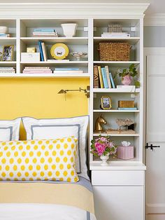 Build Around Utilize the space around the head of your bed for storage. Configure shelves and cabinets to suit your storage needs. Here, a lower cabinet has a flat table surface that serves as a nightstand, and plenty of shelves keep books, bedtime necessities, and decorative objects.