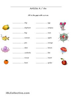 Articles A-An worksheet - Free ESL printable worksheets made by teachers Worksheets For Class 1, English Worksheets For Kids, 2nd Grade Worksheets, Free Kindergarten Worksheets, Printable Worksheets, A An Worksheet, Kindergarten Reading, English Grammar For Kids, Teaching English Grammar