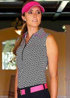 Eyelet JoFit Ladies & Plus Size Sleeveless Tipped Golf Shirt at #LorisGolfShoppe