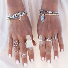 Super cute boho look - A perfect look with this innocent white nailpolish
