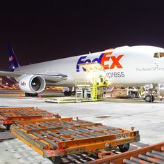 Great shot of one of our #Boeing 767 aircraft being loaded for overnight deliveries.