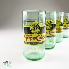 BUYING THIS ASAP! Recycled Topo Chico Bottle Flame Polished Drinking Glass