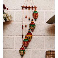 Terracotta Shankh Wind Chime – how to recycle plastic bottles at home diy wind…wind chimes Diy Home Crafts, Diy Arts And Crafts, Clay Crafts, Handmade Crafts, Diwali Diy, Diwali Craft, Art N Craft, Craft Work, Diy Diwali Decorations