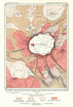 1908 Crater Lake, Oregon, Map, U.S. Geological Survey