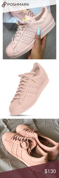 Blush pink shell toed Adidas shoes w/ gold accent These are only worn 2 times, blush pink adidas shell toed shoes. They have gold accents on them. Offers are welcome but do not low ball me please adidas Shoes Sneakers
