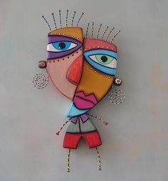 Pablo, Original Found Object Wall Art, Wood Carving, by Fig Jam Studio