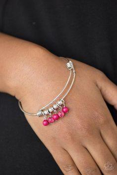 All Roads Lead To Roam Pink Paparazzi Accessories Bracelet Silver Bracelets, Bangle Bracelets, Bangles, Paparazzi Accessories, Paparazzi Jewelry, Silver Accessories, Women Accessories, Vintage Accessories, Beads And Wire