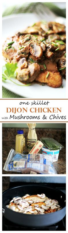One Skillet Dijon Chicken with Mushrooms and Chives | www.diethood.com | Delicious and tender chicken cooked in a lightened-up Dijon Cream Sauce loaded with mushrooms and chives. One skillet, super EASY dinner, and it's done in under 30 minutes! #OXOCookware