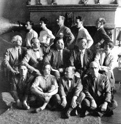 Any one night, a group of friends, artists in exile, at the home of Peggy Guggenheim in New York in 1942. First row: Stanley William Hayder, Leonora Carrington, FredericKiesler, Kurt Seligmann. Second row: Max Ernst, Amadee Ozenfant, Andre Breton, Fernand Leger, Berenice Abbott. Third row: Jimmy Ernst, Peggy Guggenheim, John Ferren, Marcel Duchamp, Piet Mondrian Photo by Man Ray
