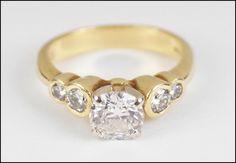 Diamond and 18 Karat Yellow Gold Ring : Lot 129-7394 #diamond #gold #ring #finejewelry