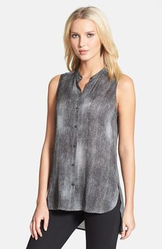 Eileen Fisher Mandarin Collar Sleeveless High/Low Silk Blouse available at #Nordstrom