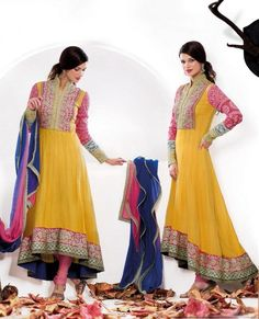 $108.19 Yellow Faux Georgette Embroidry Long Anarkali Salwar Kameez 22367