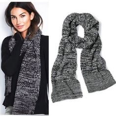 Black and white Popcorn-stitch Scarf Victoria secret knit scarf Victoria's Secret Accessories Scarves & Wraps