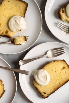Lemon Pound Cake-T-amazing lemon flavor comes from being soaked in a lemon syrup after baking and the addition of lemon segments in the batter.