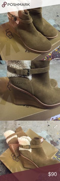 NWT Ugg wedge suede buckle boots. NWT Ugg unique style boots. Gorgeous suede with 4 inch wedge. Very comfortable. Comes with box. Sadly someone magic markered top in a small area but box in great shape. Style/ W Anais. Perfect condition and just beautiful. UGG Shoes Winter & Rain Boots