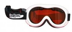 """""""Baby Banz Ski Banz Goggles"""" - Sporty, sleek design ski banz fit 4 to 10 year olds with super soft contour foam and extra wide band for comfort. Wide vision lenses offer 100% UVA/UVB protection in shatter-resistant polycarbonate."""