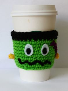 Crochet Coffee Cozy Frankenstein Halloween Cup by MsAmandaJayne, $16.00