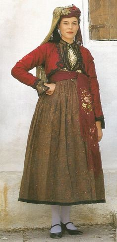 Traditional festive costume from Pelion (Thessaly, northern Central Greece), ca. Traditional Irish Clothing, Greek Traditional Dress, Traditional Outfits, Folk Clothing, Historical Clothing, Costumes For Women, Greek Costumes, Wedding Costumes, Old Models