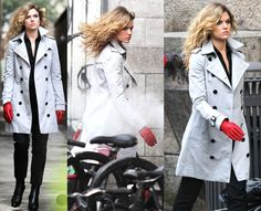 Barbara Kean of Fox's TV show, Gotham. This was from the Knock Knock episode. It was the perfect outfit for her! Still glamorous, staying true to her rich upbringing and lifestyle, but it was a bit dark and wild to finalize her transformation into a villain. Her messy curls, the off-white trench coat, all black straight leg pants and shirt, and then the red gloves were the perfect touch. I would totally wear this outfit.