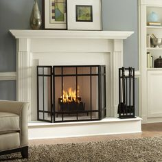 Fireplace Design Ideas for Ultramodern Contemporary Interior Decoration : Cool Modern Fireplace Design Ideas Iron Fireplace Screen Cream Sof...