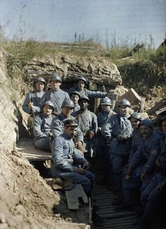 An Autochrome of French soldiers during the First World War.