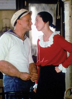Robin Williams & Shelley Duvall on the set of 'Popeye' in : OldSchoolCool Robin Williams, Winter Sweater Outfits, Winter Sweaters, Cat Tail Costume, Olive Oyl Costume, Popeye Movie, Best 80s Costumes, Winter Wedding Attire, Popeye And Olive